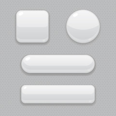 White buttons. 3d web icons on gray background