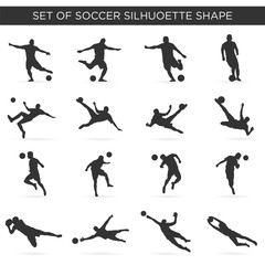 set of soccer silhouette with modern and simple style, kick, rush, football team, competition