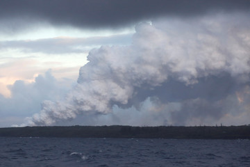 Lava flows into the Pacific Ocean in the Kapoho area, east of Pahoa