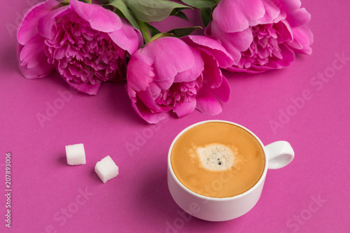 White cup with a drink of coffee with foam on a pink background two white cup with a drink of coffee with foam on a pink background two slices mightylinksfo