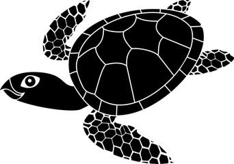 Black silhouette of adult cute cartoon swimming sea turtle
