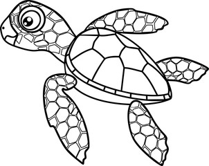 Coloring page. Cute cartoon hatchling of sea turtle