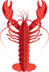 Red lobster isolated vector illustration. Flat modern color style.