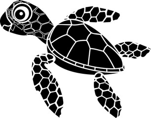 Black silhouette of cute cartoon hatchling of sea turtle on white background