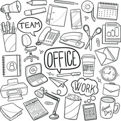 Office Work Doodle Icon Hand Draw Line Art