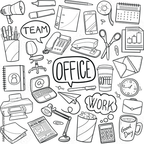 office work doodle icon hand draw line art stock image and royalty Army Equipment Icons office work doodle icon hand draw line art