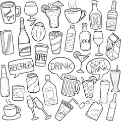 Drinks and Beverages Doodle Icon Hand Draw Line Art
