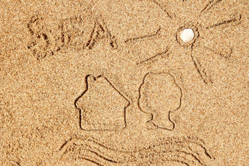 Stylishly beautiful drawings on sand background in nature
