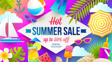 Summer sale promotion banner. Vacation, holidays and travel colorful bright background. Poster or flyer design. Vector illustration.