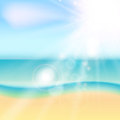 Summer beach and tropical sea with sunlight.