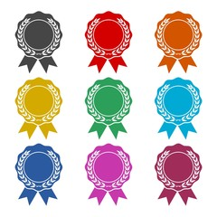 Badge with ribbons icon, Award ribbon, color icons set