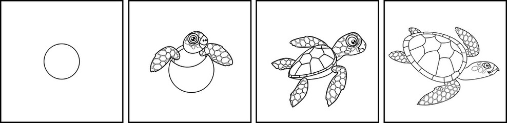Coloring page. Life cycle of sea turtle