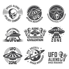 Monochrome labels or badges with pictures of aliens, ufo and space