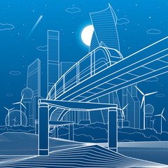 Urban infrastructure and transport illustration. Monorail bridge across the mountains. Modern city at background, industrial architecture. White lines on blue background. Vector design art