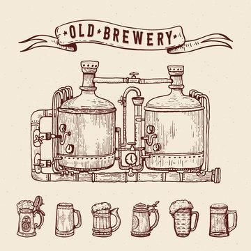 Vintage engraving style beer set. Retro brewery engraving. Copper tanks and barrels, beer mugs and ribbon. Craft beer Local brewery. Beer pint hand drawn ink sketch.