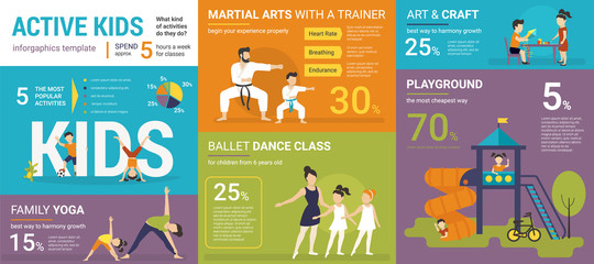 Active kids infographics vector illustration of children classes with graphs and diagrams. Flat template of family yoga, martial arts, ballet class, crafts and playground. Kids lifestyle presentation