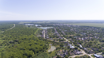 Panorama from the height of the Russian village