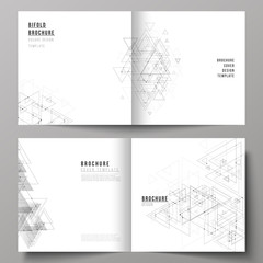 The vector illustration of layout of two covers templates for square design bifold brochure, magazine, flyer. Polygonal background with triangles, connecting dots and lines. Connection structure.