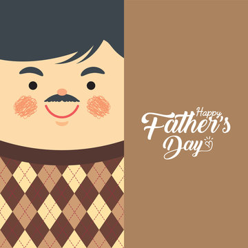 Happy Father's Day template or copy space. Cartoon father wearing sweater vest. Man in flat vector illustration.