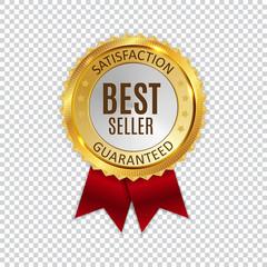 Best Seller Golden Shiny Label Sign. Vector Illustration