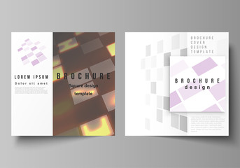 Vector illustration of editable layout of two covers templates for square design brochure, magazine, flyer, booklet. Abstract hi-tech background in perspective. Futuristic digital technology backdrop.