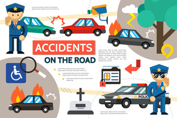 Flat Road Accident Infographic Template