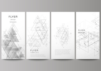 The minimalistic abstract editable vector layout of four modern vertical banners, flyers design business templates. Polygonal background with triangles, connecting dots and lines. Connection structure