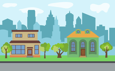 Vector city with two two-story cartoon houses and green trees in the sunny day. Summer urban landscape. Street view with cityscape on a background