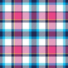 Tartan seamless plaid pattern in blue, pink, dark blue, yellow and white color