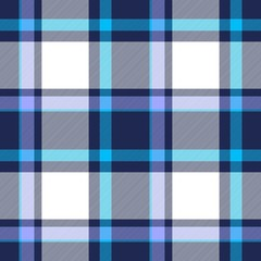 Tartan seamless plaid pattern in blue, dark blue, violet and white color
