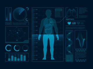 Futuristic medical symbols of scan for web interface. Visualization of digital human verify. Vector Hud
