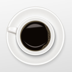 Realistic of hot black coffee in a white Cup of Coffee on saucer with black coffee, top view and isolated on white background.