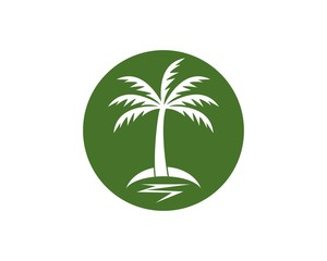 Coconut treee beach holidays logo vector template