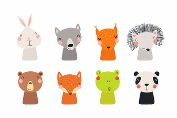 Printed kitchen splashbacks Illustrations Set of cute funny little animals bear, panda, bunny, wolf, frog, fox, hedgehog, squirrel. Isolated objects on white. Vector illustration. Scandinavian style flat design. Concept for children print