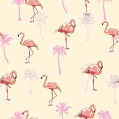 Door stickers Flamingo seamless flamingo pattern vector illustration