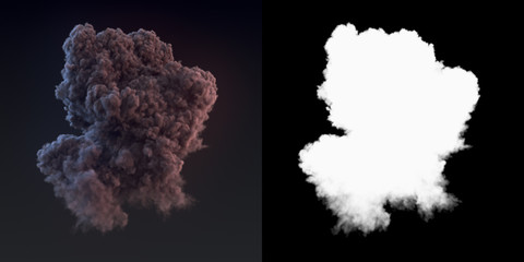 Dangerous cloud 3d rendering of dark smoke after an explosion with alpha channel