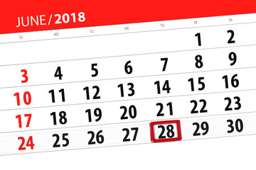 Calendar planner for the month, deadline day of the week, thursday, 2018 june 28