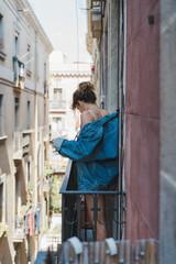 Tender slim girl in jean jacket