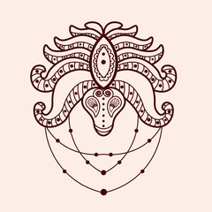 Mehndi traditional indian ethnic symbol. Good for henna design, tattoo, fabric, textile, t-shirt print or poster