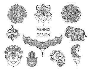 Mehndi set of traditional indian ethnic symbols. Good for henna design, colored pages or books, textile, t-shirt prints or posters.
