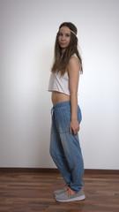 Hippie Mädchen posiert