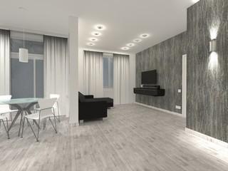 Интерьер квартиры - светлая студия с темной мебелью