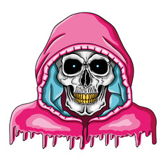 Vector illustration of human skull with golden teeth and pink hood