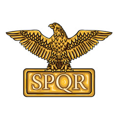 "Golden emblem of Roman Empire SPQR with eagle. It means ""senatus populusque romanus"" (The Roman Senate and people"