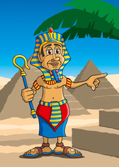Pharao vor Pyramiden und Palme, Cartoon, Szene