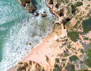 Fototapete - Aerial view of exotic sandy beach and ocean with clear turquoise water.