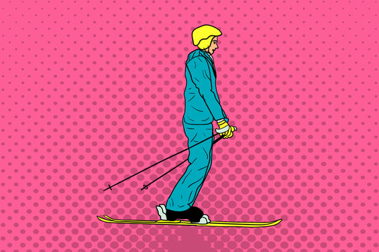 Skier in the style of pop art