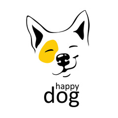 happy dog logo on white background with yellow accent on left eye Smile smirk on his face Thin black lines Cute smiling hound Hand-draw vector isolated Can use as logo emblem emoji emoticons, mascot.