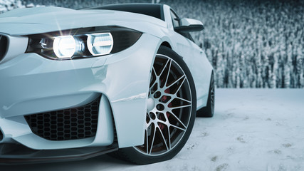 white car in the snow.