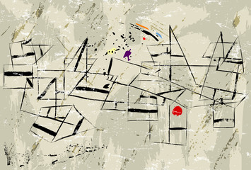 abstract vintage modern art illustration, with paint strokes, splashes and geometric lines